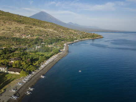 Indonesia, Bali, Amed, Aerial view of Lipah beach and volcano Agung - KNTF02573