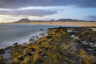 Spain, Canary Islands, Fuerteventura, Corralejo, view to Parque Natural de Corralejo at morning twilight - RJF00813