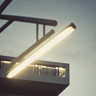 Low angle architectural view of lights in a building - INGF10692