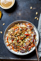 Warm rice salad with grated vegetables, peanut sauce and peanuts - SBDF03883