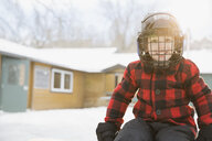Portrait of smiling boy wearing helmet - HEROF01265