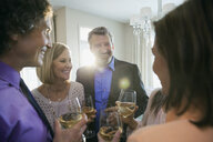 Happy friends and family holding wineglasses at party - HEROF01661