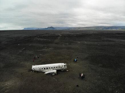 Airplane wreck on black sand beach, Solheimasandur, Iceland - AURF07903
