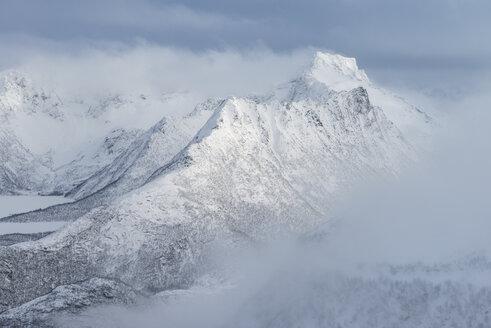 Breidtind mountain peak in winter, Austvagoy, Lofoten Islands, Norway - AURF07924