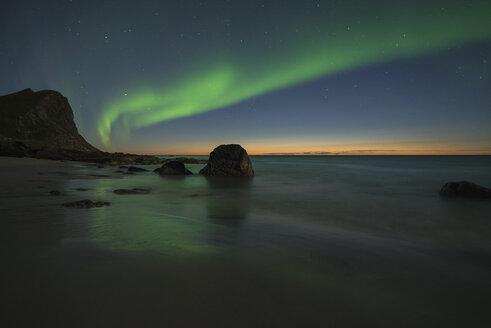Myrland beach at night, Flakstadoya, Lofoten Islands, Norway - AURF07936