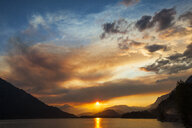 Lillooet Lake at sunset in Coast Mountain Range, British Columbia, Canada - AURF07969