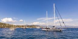 France, Provence-Alpes-Cote d'Azur, Theoule-sur-Mer, sailing yachts - WD04990