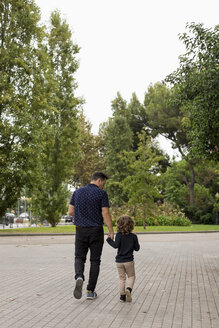 Rear view of father and son walking hand in hand - MAUF02086