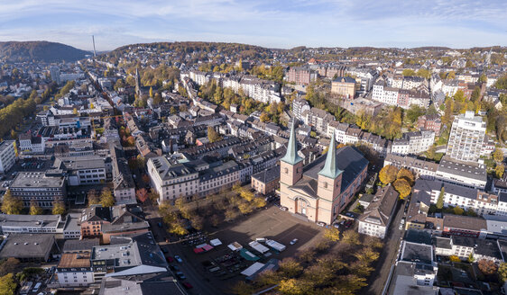 Germany, Wuppertal, Elberfeld, Aerial view of Laurentius Square - SKAF00099