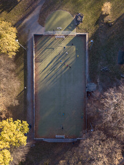 Germany, Wuppertal, Kaiserhoehe, Aerial view of soccer field in autumn - SKA00105