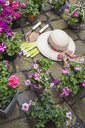 Various potted spring and summer flowers, straw hat, gardening tools and gloves on cabblestone pavement - GWF05738