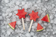 Homemade frozen watermelon star ice lollies - GWF05743