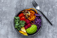 Kale avocado salad with red cabbage, tomato, fried mushroom, carrot, apple and raspberry - SARF04035
