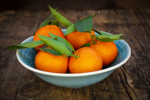 Clementines in bowl on wood - LVF07614