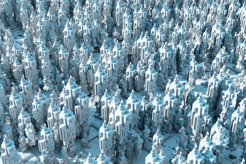 3D Rendered Illustration, conceptual render of an endless futuristic city - SPCF00300