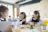 School girls conducting experiment in science classroom - HEROF03506