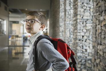 School boy with backpack in corridor - HEROF03548