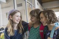 School girls talking in corridor - HEROF03566