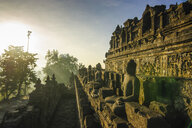 Indonesia, Java, Borobudur Temple Complex in early morning light - RUNF00608