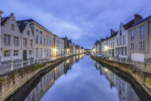 Belgium, Bruges, row of houses at canal by twilight - RPSF00259