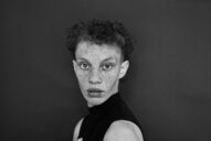 Young woman with freckles and shaved hair on the side. - INGF11725