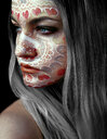 Portrait of a young woman wearing face paint - INGF11752