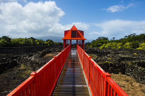 Portugal, Azores, Island of Pico, Wine museum, Red walkway in the vineyards - RUN00637