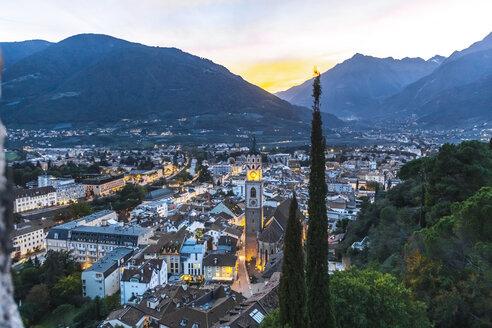 Italy, Alto Adige, Meran, cityscape at sunset - MMAF00721