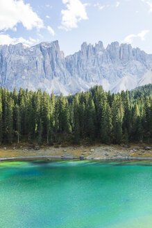 Italy, South Tyrol, Dolomites, Latemar mountain seen from Lago di Carezza - MMAF00736