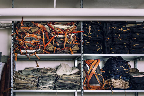 Stack of bags in shelves at factory - ASTF00492