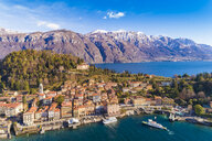 Italy, Lombardy, Aerial view of Bellagio and Lake Como - TAMF01103