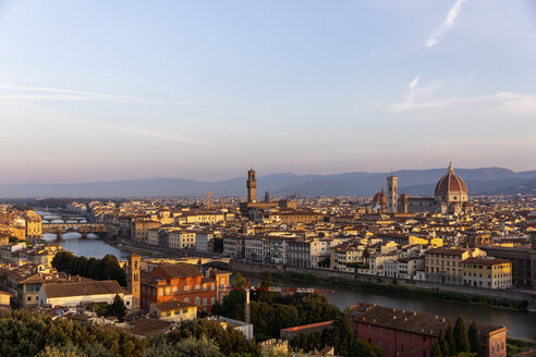 Italy, Florence, Cityscape at sunrise - MRAF00362