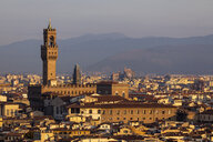 Italy, Florence, Cityscape and Palazzo Vecchio in the morning light - MRAF00365