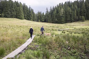 Mutter und Sohn wandern im Kaisergebirge, Golden Retriever, Karspitze, Rettenschöss, Österreich - MAMF00284
