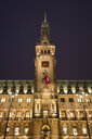 Germany, Hamburg, tower of Hamburg City Hall at night - WIF03720