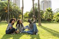 Friends sitting on grass, having fun, using smartphone - GIOF05407