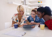 Young women friends drinking coffee and using digital tablet at kitchen table - CAIF22483
