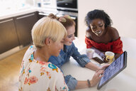 Young women friends using digital tablet at kitchen table - CAIF22496