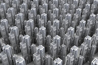 Grey skyscrapers forming an uniform city, 3D Rendering - SPCF00318