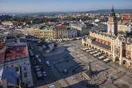 Poland, Krakow, aerial view over the Main Square in the Old Town - ABOF00382