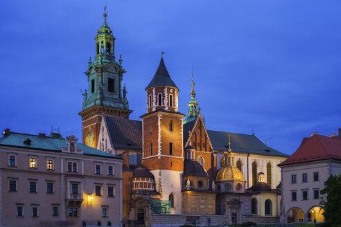 Poland, Krakow, Wawel Cathedral at night - ABOF00403