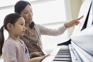 Mother teaching daughter to play piano - HEROF04446