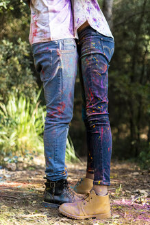 Affectionate couple celebrating Holi, Festival of Colors - ERRF00518