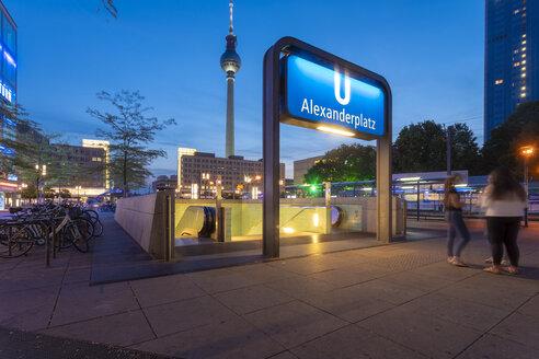 Germany, Berlin, Alexanderplatz, Berlin TV Tower and Underground station Alexanderplatz in the evening - TAMF01113