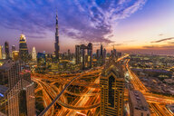 United Arab Emirates, Dubai, Burj Khalifa at sunset - SMAF01172