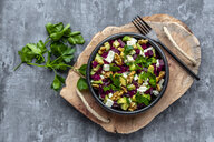 Bowl of beetroot salad with avocado, feta, walnuts and parsley - SARF04052