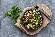 Bowl of beetroot salad with avocado, feta, walnuts and parsley - SARF04052