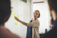 Creative businesswoman explaining colleagues over adhesive note on glass during meeting in office - MASF10702
