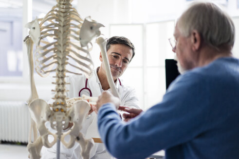 Doctor explaining bones at anatomical model to patient in medical practice - JOSF02810