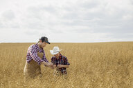 Father and son checking wheat crop - HEROF04766